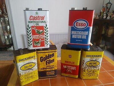 Collection of 6 Vintage Oil Cans. Esso. Castrol. Duckams. Red X. Golden Film. 1