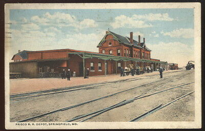 1919 Picture Pc, Frisco R.r. Depot, Springfield, Mo. Train Coming In