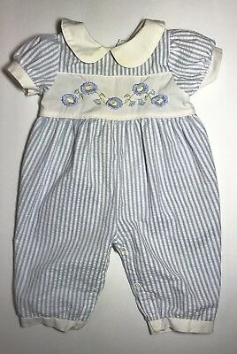 BABY DIOR Christian Dior Seersucker Blue Embroidered Romper USA Vtg Size 3 Mos