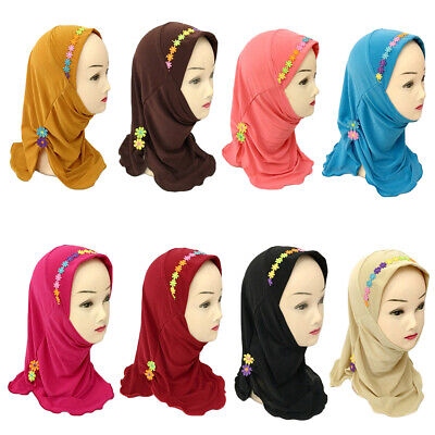 Kids Girls Flower Muslim Caps Islamic Hijab Arab Scarf Shawls Underscarf Hats