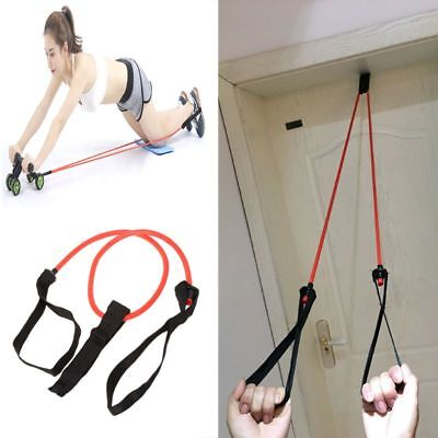 Ab Roller Pull Rope Abdominal Exercise Gym Fitness Resistance Bands Latex Tube