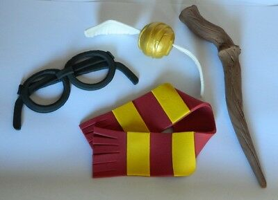 LARGE 3D edible HARRY POTTER SCARF WAND snitch cake topper DECORATION magic