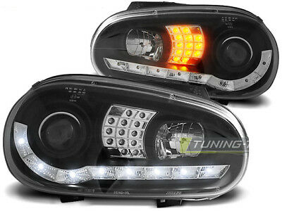 Juego Faros Optica Marcha Diurna LED para VW GOLF 4 IV 1997-2003 Luz do Dia Negr
