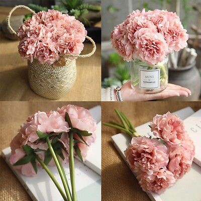 28cm 5 Heads Bunch Artifical Peony Silk Flower Hydrangea Wedding Home Decor