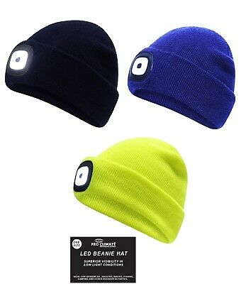 Pro Climate Knitted Beanie Hat LED Light Black Navy Hi Vis Yellow Batteries  Inc 1604c6440852