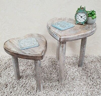 Two Wooden Heart Stools Tables Nest Side Occasional