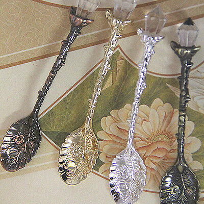 Vintage Carved Flower Crystal Coffee Teaspoon Ice Cream Tea Sugar Cake Spoon