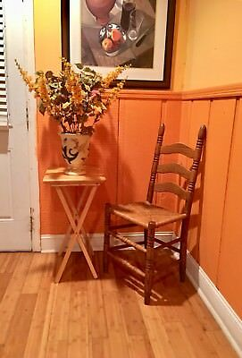Beautiful Antique Vintage French Country  Ladder Back Rush Seat Accent Chair