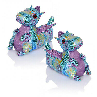 Loungeable Womens 3D Dina Dragon Plush Wild Animal Slippers Girls Novelty Shoes
