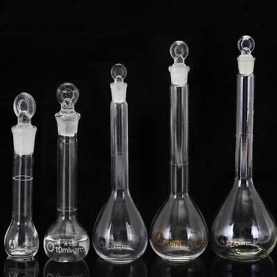 5/10/25/50/100/250ML Flask Glass Measuring Flask Beakers Science With Stopper