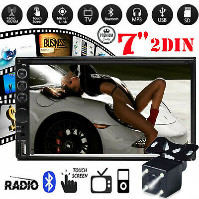 "2DIN 7"" Car MP5 Player Bluetooth Touch Screen Stereo Radio HD with Rear Camera"