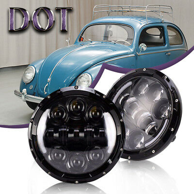 Fit Volkswagen VW Beetle Classic DOT 7Inch LED Round Headlight Hi/Low CREE Beam