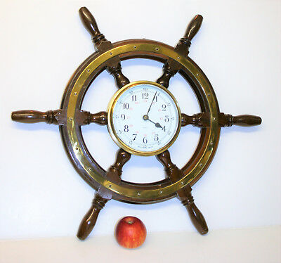 "Vintage Nautical Ship Wheel Wall Clock Brass & Wood Working 23"" Maritime England"