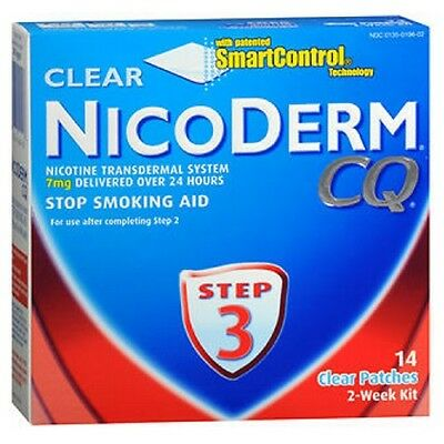 Nicoderm Cq Étape 3 Clear Patches 14 Doses 7 Mg