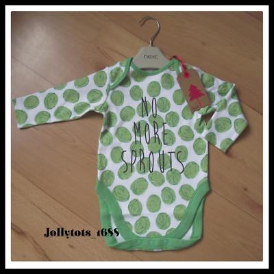 NEXT Baby Boys Christmas Clothes 3-6 Months White & Green Long Sleeved Bodysuit