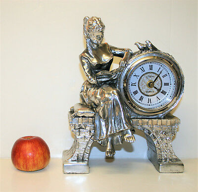 Vintage Ornamental Mantel Clock Silver Finish Girl with Book & Birds by Juliana