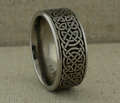 10 mm Wide Titanium Celtic Knot Wedding Ring Band  Made in the UK Size 12 or 13
