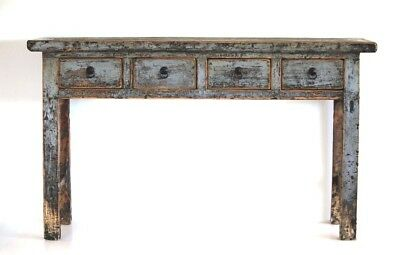 Chinese Hallway Console Table - 4 Drawer Blue Grey Distressed Finish- Vintage