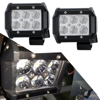 2x 4 inch 18W Flood LED Pods Lights Bumper Lights for Hilux Tundra RTV UTE Truck