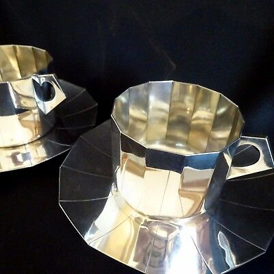 2 Vintage Chocolate Coffee Cup Silver Art Deco French Antique Coffee Accessories