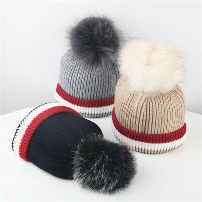Kids Winter Pompom Hat Girls Boys Skullies Beanies Child Pom Pom Warm Cap 2-8Yrs