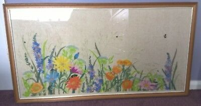 Vintage Large 110 x 59 cm Hand Embroidered Garden Flowers Picture Bees ColwynBay