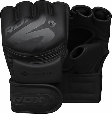 RDX Leather MMA Boxing Gloves Grappling Fighting UFC Punch Bag Training CA