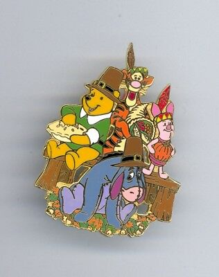 JDS Disney Japan Thanksgiving Pooh Eeyore Tigger Piglet Indians Pilgrims LE Pin
