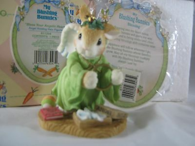 Enesco My Blushing Bunnies Bless Your Angelic Heart Angel Holding Halo w/ Box