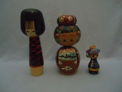 3 Vintage Japanese Wooden Kokeshi Doll 9 8 4 inches tall 1 Man Bobble Nodder