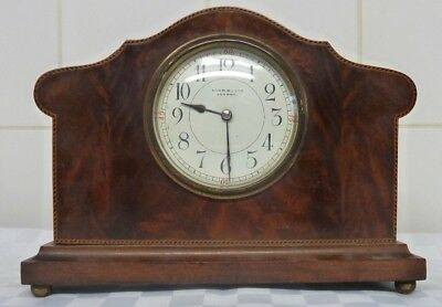 Vintage Hinds Ltd London Inlaid Mahogany Mantle Clock