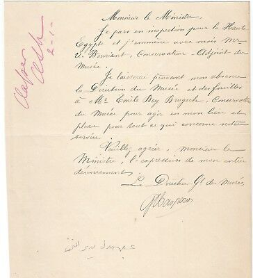 Egypt Ägypten Rare Letter Signed By France Gaston Maspero Lot 4