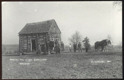 1950S Rppc, Moving The First Evangelical Lutheran Collge Building, Altenburg, Mo