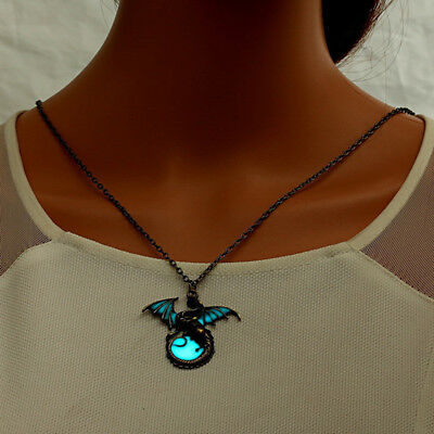 Men Bronze Fashion Glow in the Dark Around the Moon Dragon Pendant Necklace