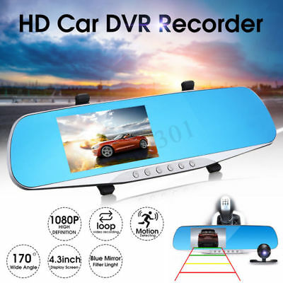Car DVR Dual Lens Camera Full HD 1080p Mirror Dash Cam Video Recorder