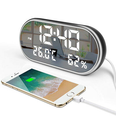 Dual USB Digital Alarm Clock LED Mirror Display Thermometer Hygrometer Battery
