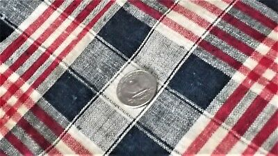 French antique unused home spun linen kelsch blue white red stripes checks c1900