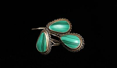 Vintage  Russian Natural Malachite Silver Tone  Ring & Earrings Set 8 P Ussr