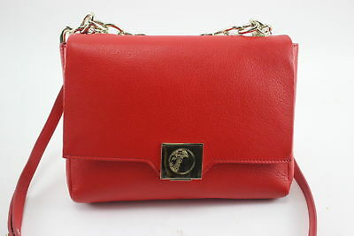 NWT $995 Versace Collection Gold Logo and Chain Crossbody Red Leather Handbag