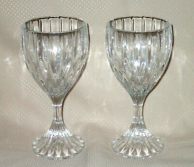 Pair (2) Mikasa Park Lane 8 Oz. Lead Crystal Water Goblets 6.75""