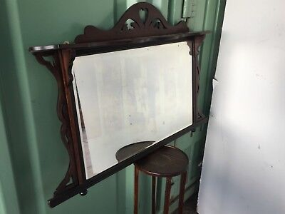 Reclaimed 1930s Mahogany Over Mantle Fireplace Wall Hall Mirror 78x117cm