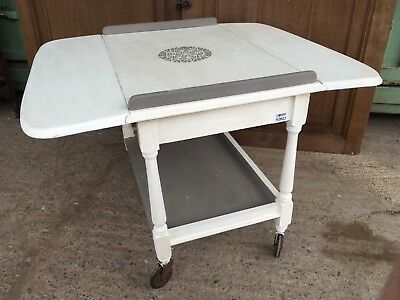 Interesting 1930s Oak Painted Drop Leaf Serving Trolley Coffee Table 53x81x66cm