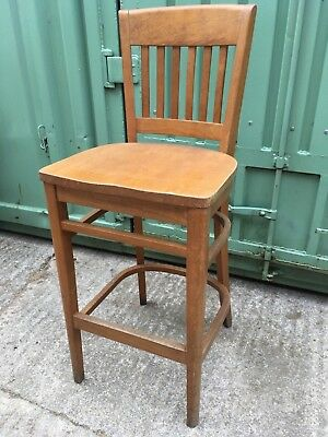 "Useful Modern Beech Tall Bar Stool With Slat Back & Solid Seat 45 3/8"" High"