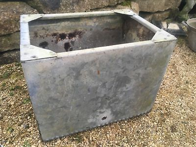 """Vintage Old Galvanized 2'2"""" X 19"""" Old Riveted Water Tank Garden Planter Tub"""