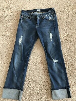 ed5174057bf Women's HUDSON GINNY Crop Straight Jeans With Cuff Size 28 Distressed EUC