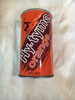 Hy-Tyme Orange Soda Straight Steel Pull Tab Top Opened Soda Can