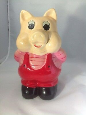 "Vintage 1980's Ceramic/Chalk Ware Piggy Bank 9"" Tall Made In Taiwan"