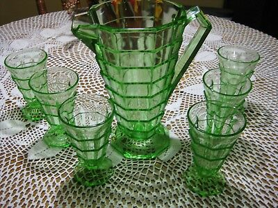 Indiana Glass Tea Room Green Pitcher 6 Tumblers Deco Vaseline Glass