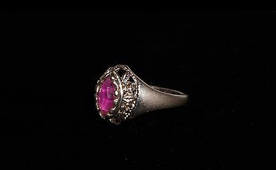 VINTAGE 60's  RUSSIAN  SILVER TONE  ROSE FACETED QUARTZ  COCTAIL RING 11 V USSR