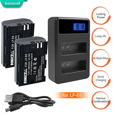 Battery or Charger for LP-E6 LPE6 Canon 5D Mark II Mark III EOS 6D 7D 60D BT